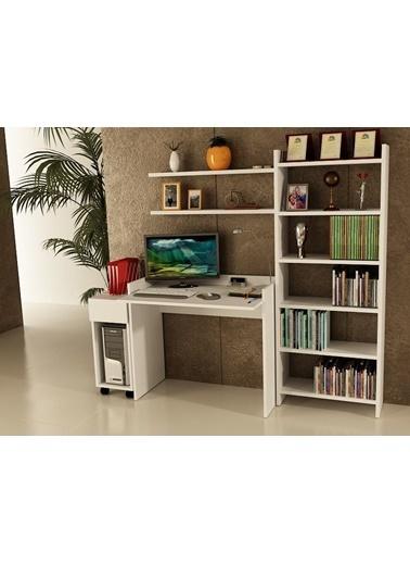 Sanal Mobilya Sirius Dolaplı Kitaplıklı 2 Raflı Çalışma Masası 90-7-Dk-6B Beyaz